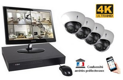 Kit Video Pro IP 4 caméras 8 Mégapixels