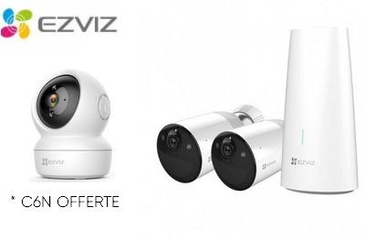 Kit vidéo 2 caméras Wifi avec station et caméra C6N OFFERTE EZVIZ