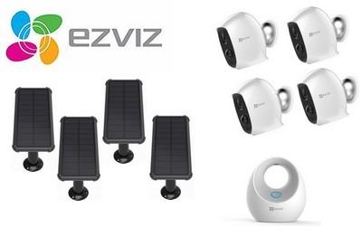 Kit vidéo 4 caméras Wifi 4 panneaux solaires et station de base EZVIZ