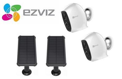 Kit vidéo 2 caméras Wifi 2 Mégapixels et 2 panneaux solaires [KIT.EZVIZ_2SOLAR-2C3A]