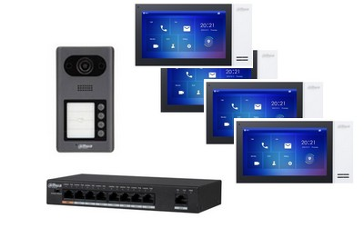 Kit interphonie 4 portes IP PoE