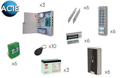 Kit contrôle d accès IP 6 portes secourues [ACIE_KIT6P_DM]