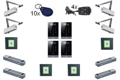Kit contrôle d'accès Autonome Badge/digicode 4 portes