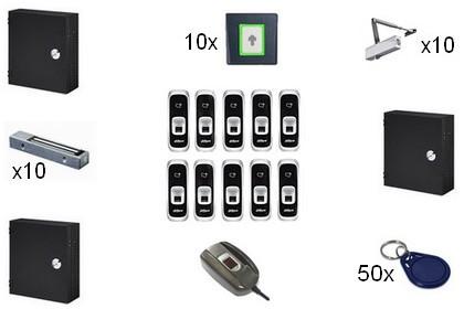 Kit de contrôle d'accès IP biométrique 10 portes