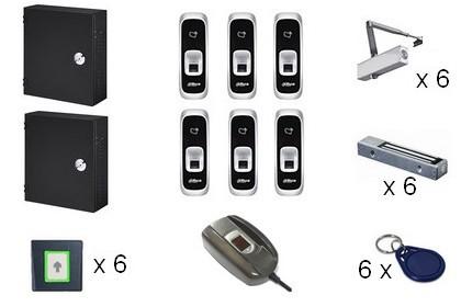 Kit de contrôle d'accès IP biométrique 6 portes