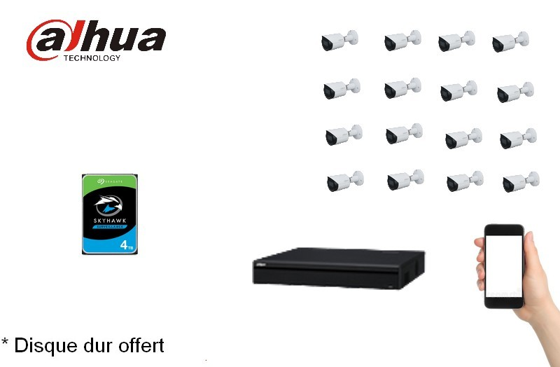Kit Video Pro IP 16 caméras 4 Mégapixels [KAM-KIT-16BUNDLE-4MP-IP]
