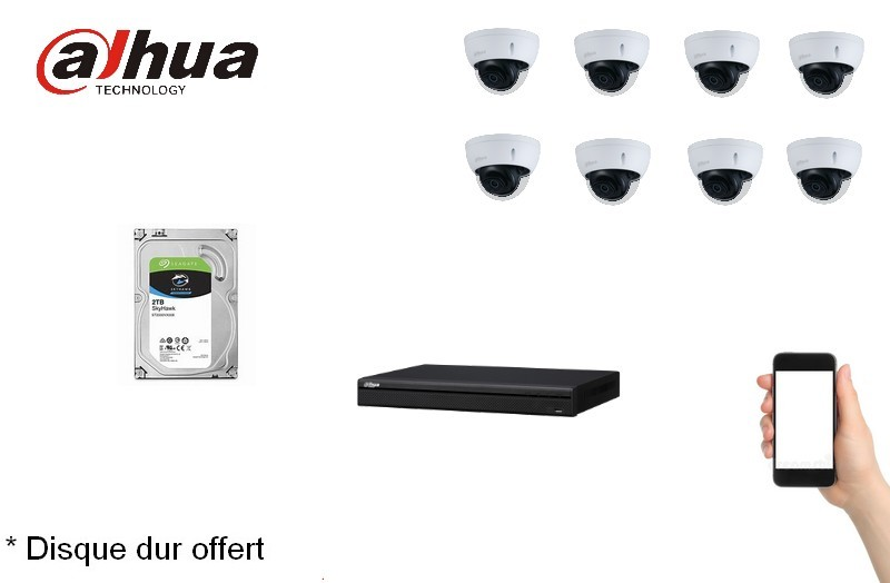 Kit Video Pro IP 8 caméras 4 Mégapixels