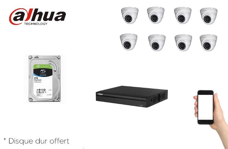 Kit Video HD-CVI 8 caméras 2 Mégapixels