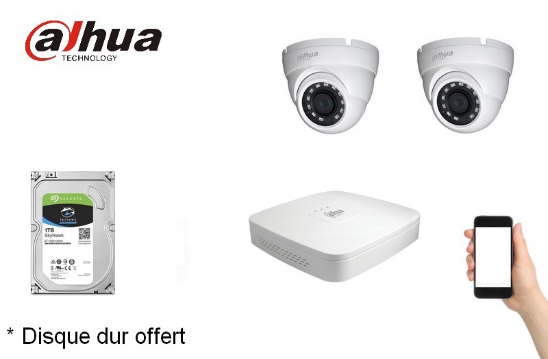 Kit Video Pro HD-CVI 2 caméras 2 Mégapixels