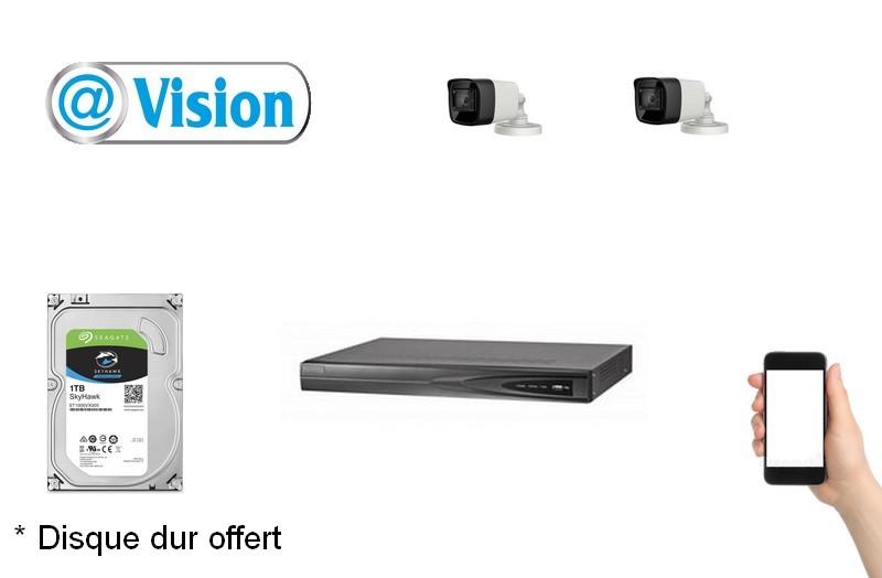 Kit Vidéo Eco IP 2 caméras 2 Mégapixels [KAM-KIT-ECO-2CAM-IP]